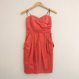 Burnt Orange Red Strapless Dress POCKETS